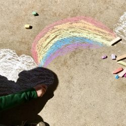rainbow drawn with chalk outside