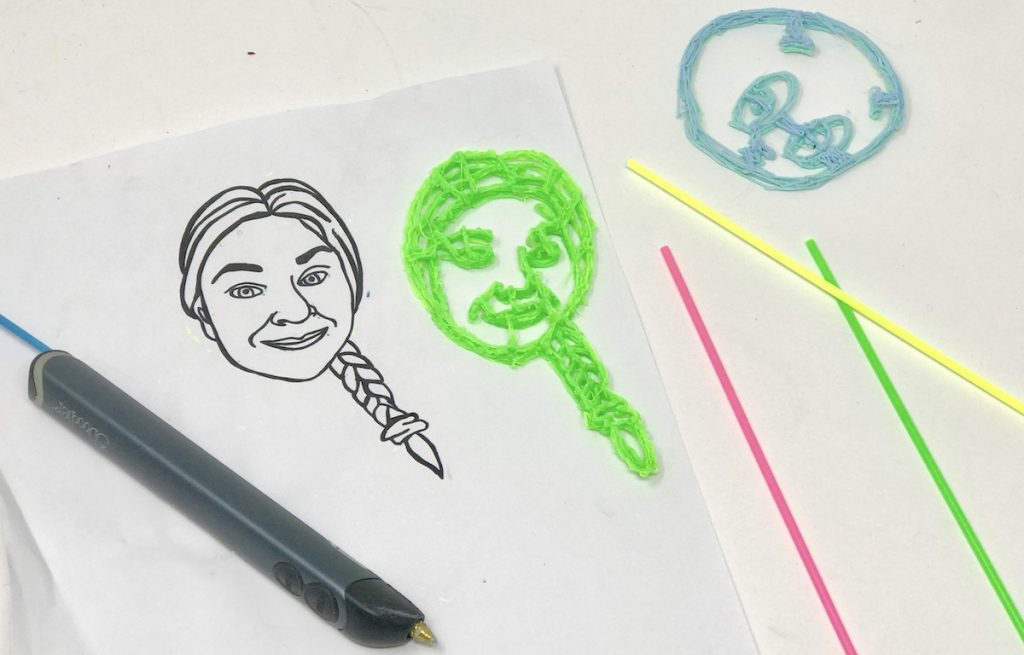 Image of a portrait made with a 3D pen