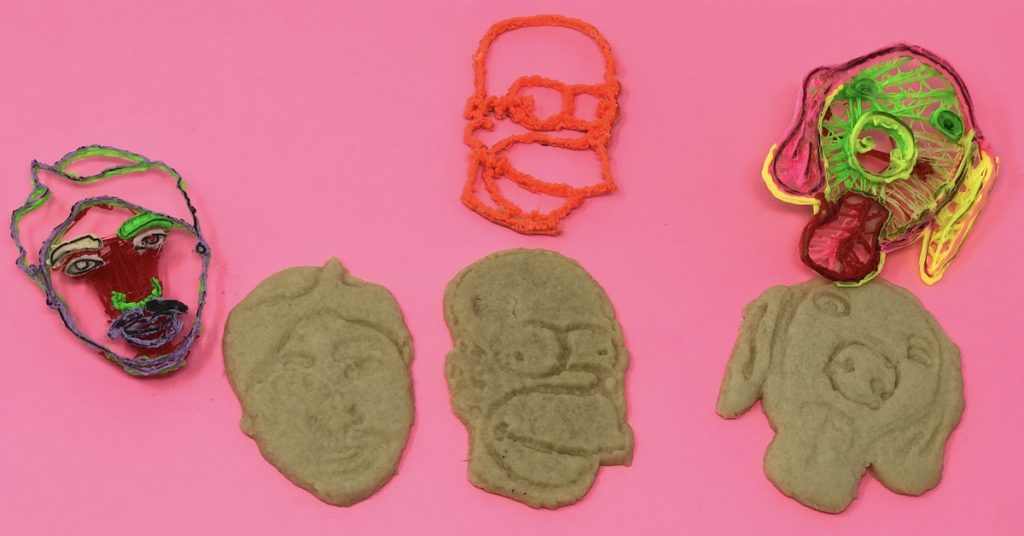 Finished cookies and cookie-cutters