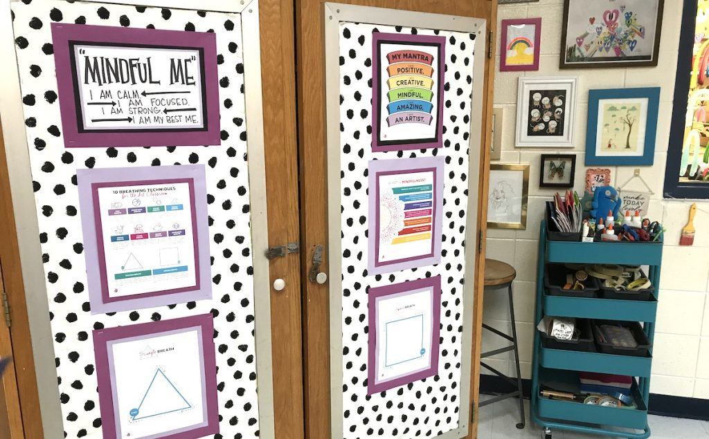Cabinet with art mantra and affirmations