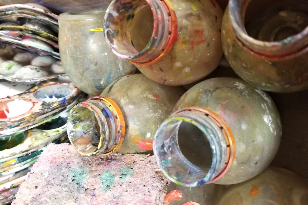 paint cups and jars