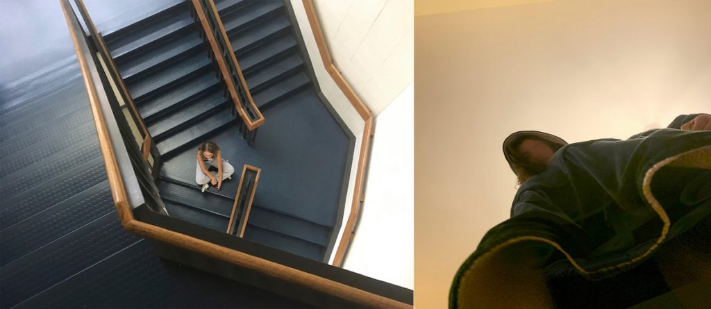 student photo artwork with stairs and self-portrait