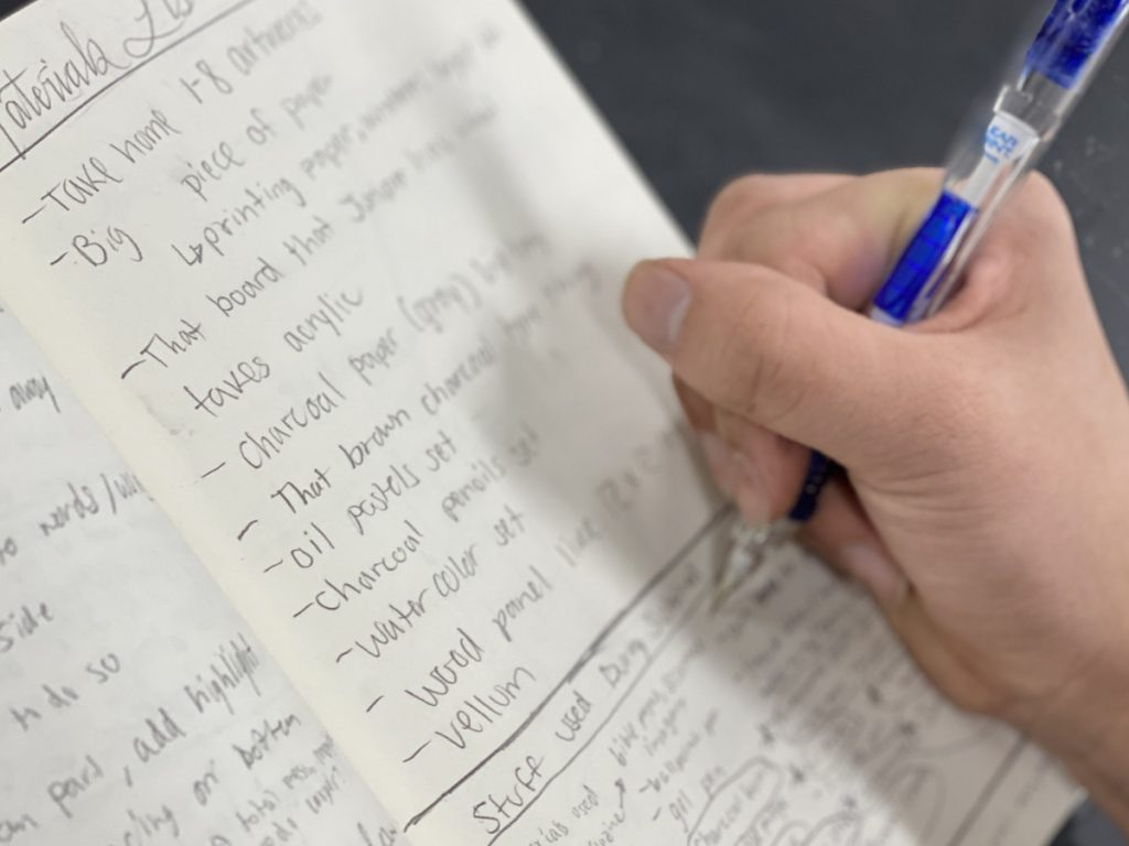 a hand writing a list
