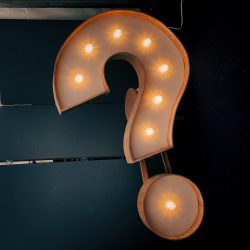question mark as a lit up sign