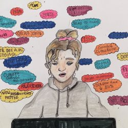 Student with thoughts around them