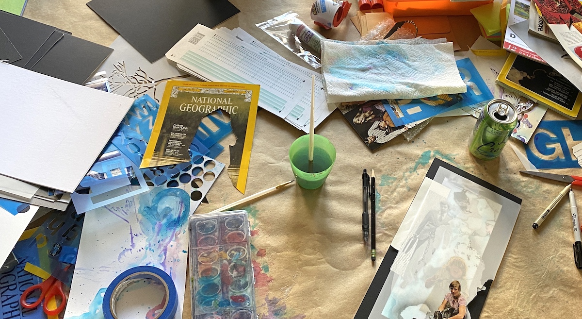 Art supplies on a table