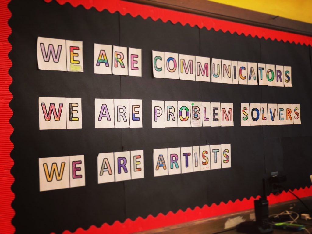 bulletin board with message