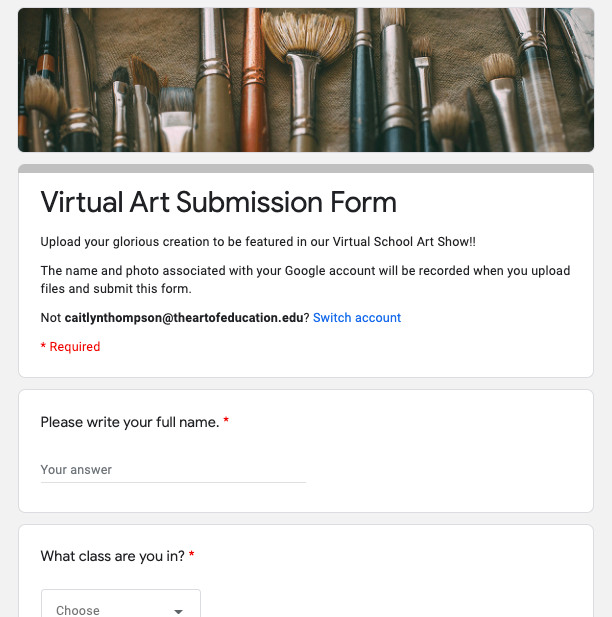 image of google submission form
