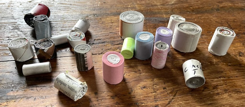 small rolls of paper for paper pottery