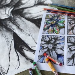 floral-inspired artwork with oil pastels