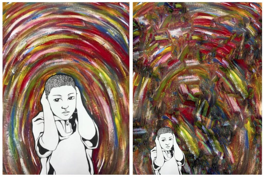 artwork with figure and swirling colors