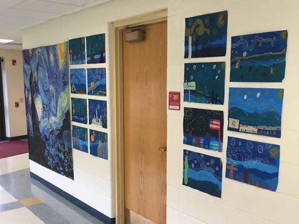 student artwork on display as parodies of the starry night by vincent van gogh