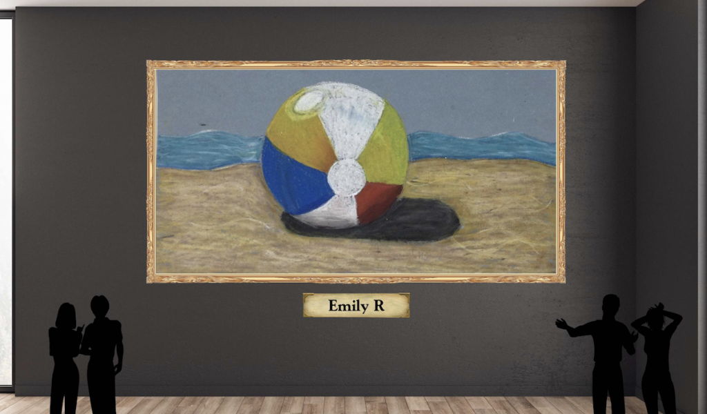 virtual gallery space with student artwork