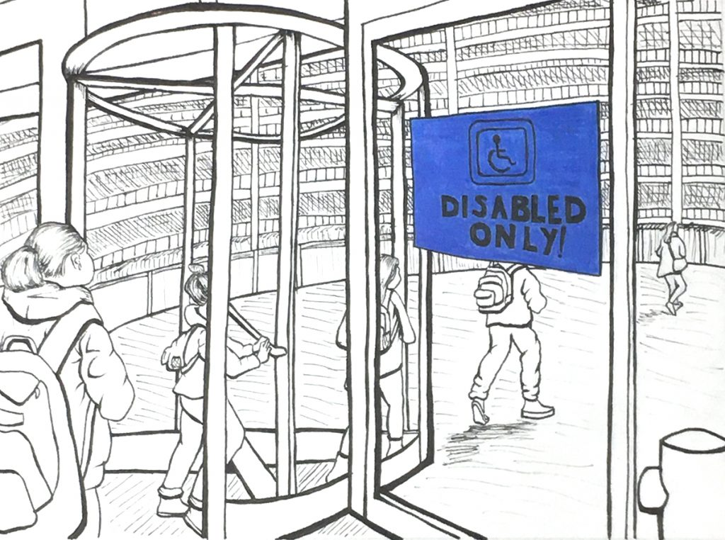 line drawing of students walking through revolving door with disabled only sign