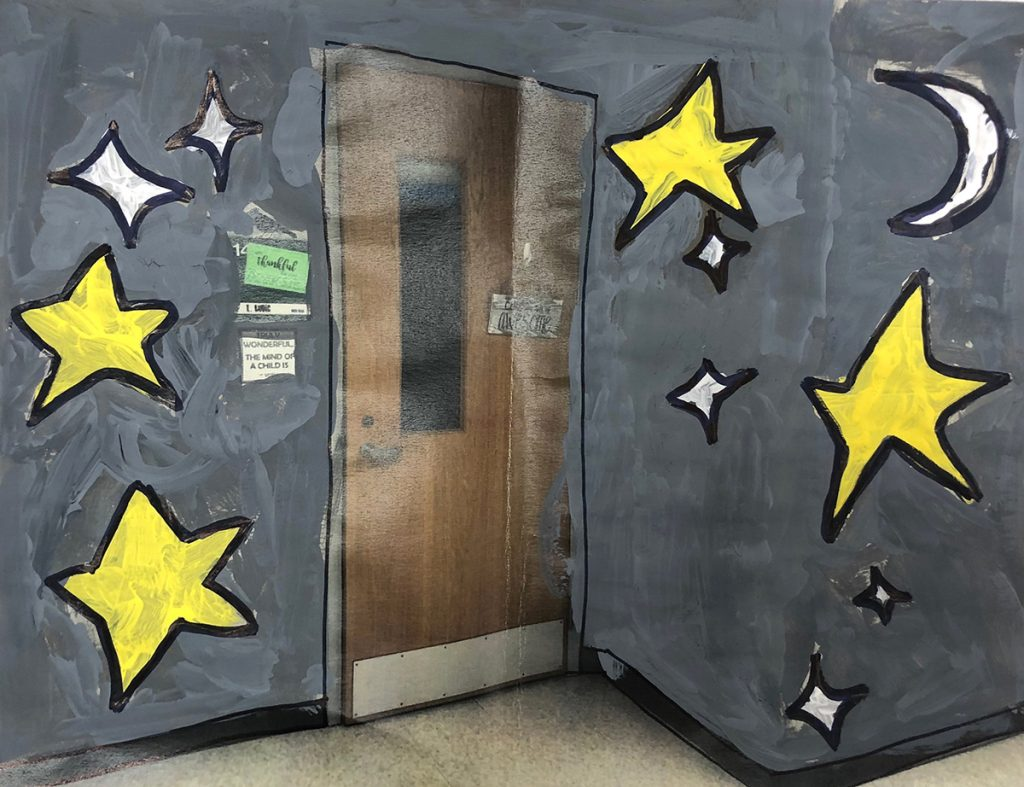 faux mural with stars