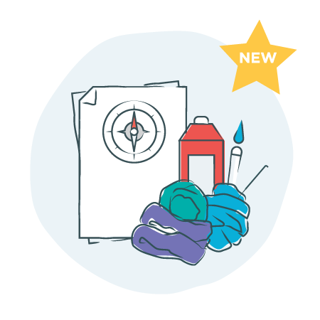 """illustration of fibers, spray can, paint brush and papers with a compass in circle, gold star saying """"NEW"""" at top corner"""
